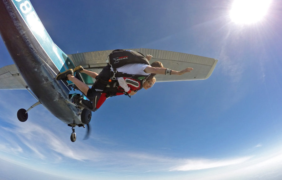 Not like in a skydiving movie - tandem skydivers always have an instructor with them.