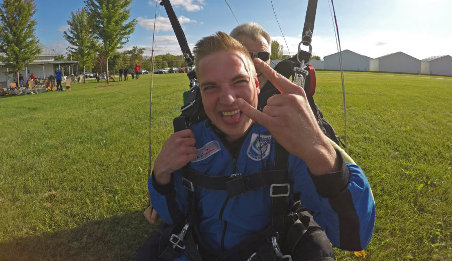 Tandem student on a birthday skydive