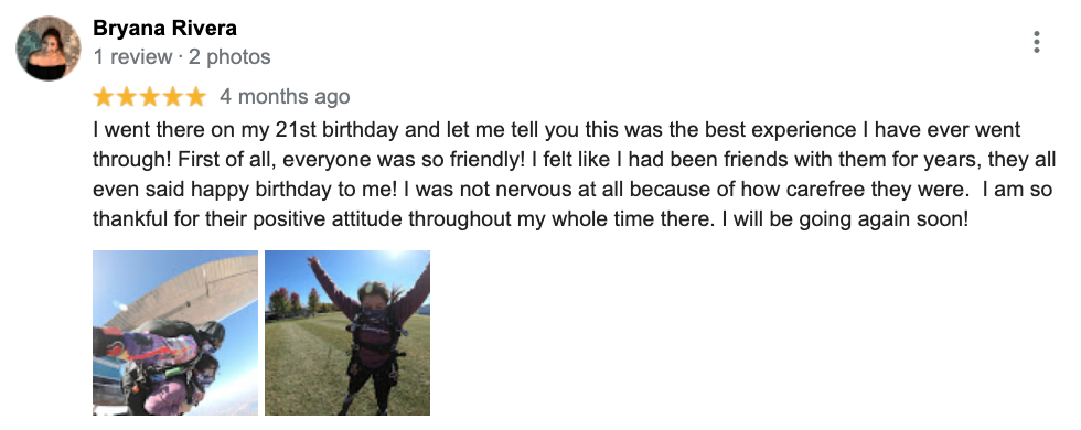 Five-star review for Wisconsin Skydiving Center from Bryana R on Google