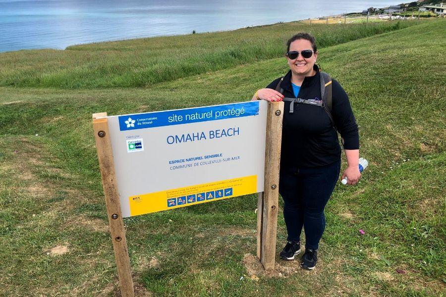 Jocelyn Dawson smiles at Omaha Beach