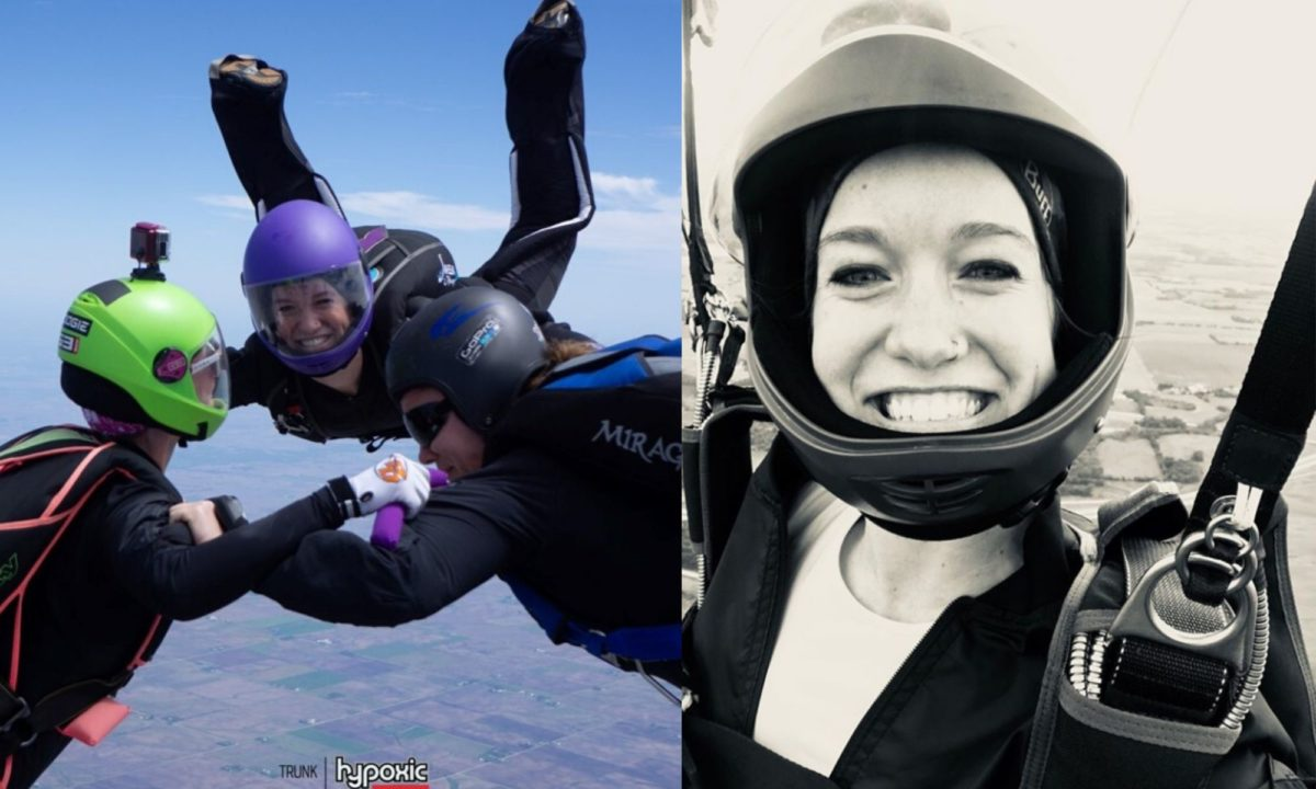 Kelsey Strock smiles while making a skydive