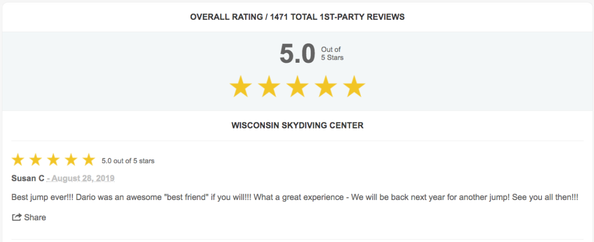 Wisconsin Skydiving Center Reviews - Milwaukee, WI & Madison, WI