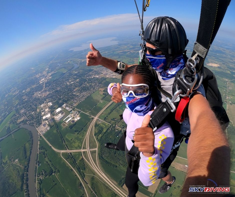Tandem skydiving in the afternoon at Wisconsin Skydiving Center near Milwaukee