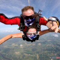 A tandem skydiving pair wearing masks during free fall.