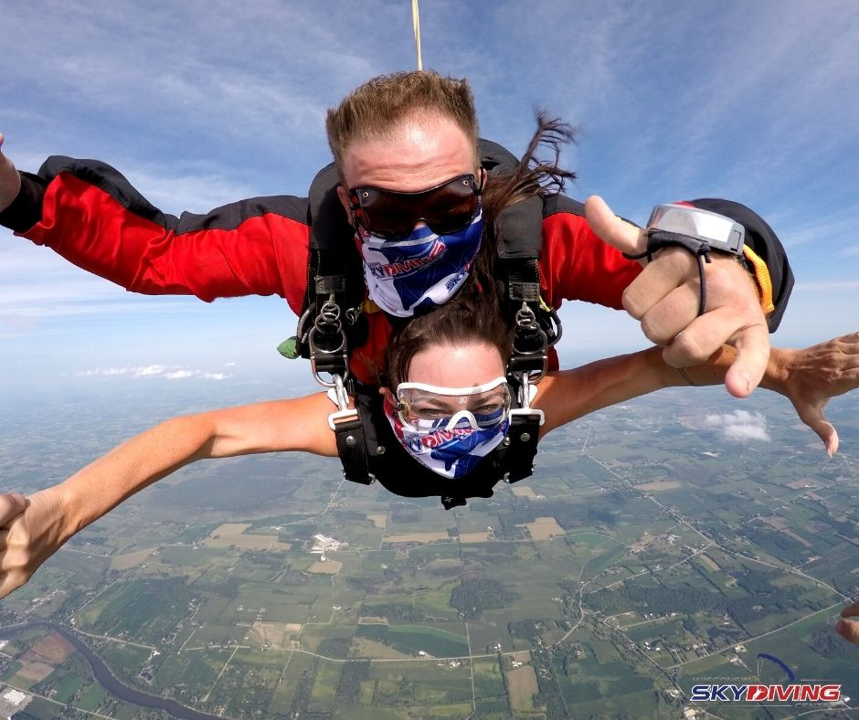 A tandem skydiving pair wearing masks during free fall at Wisconsin Skydiving Center near Chicago