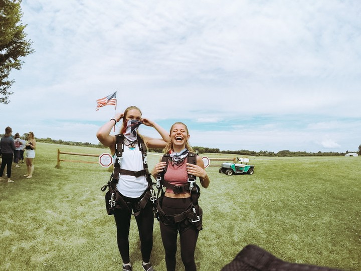 Tandem skydiving harnesses strap around your chest, legs & hips at Wisconsin Skydiving Center near Chicago