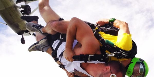 Man picking up speed after exiting the plane at Wisconsin Skydiving Center near Milwaukee