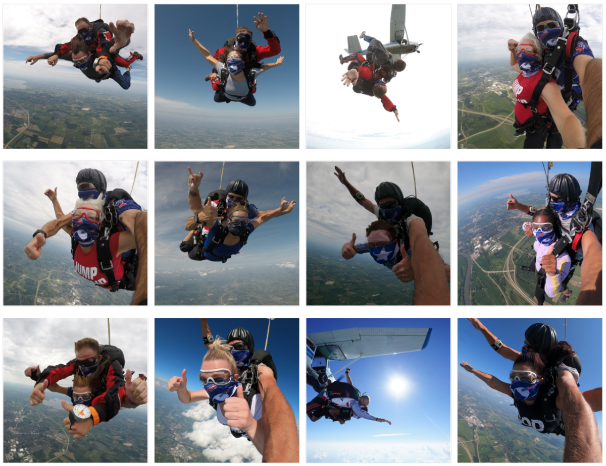 Photo montage of tandem skydivers in all seasons at Wisconsin Skydiving Center near Milwaukee