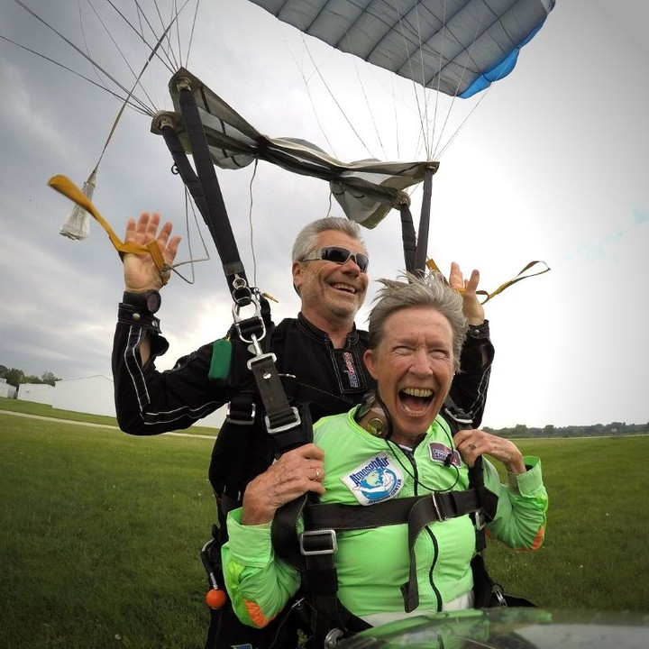 Pure joy comes at any age when you're tandem skydiving at Wisconsin Skydiving Center near Milwaukee