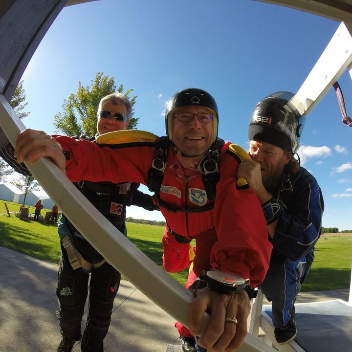 Man learning to skydive solo with AFF ground training at Wisconsin Skydiving Center near Milwaukee