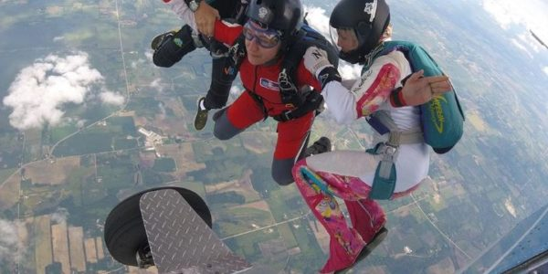 Woman learning to skydiving with AFF training at Wisconsin Skydiving Center near Milwaukee
