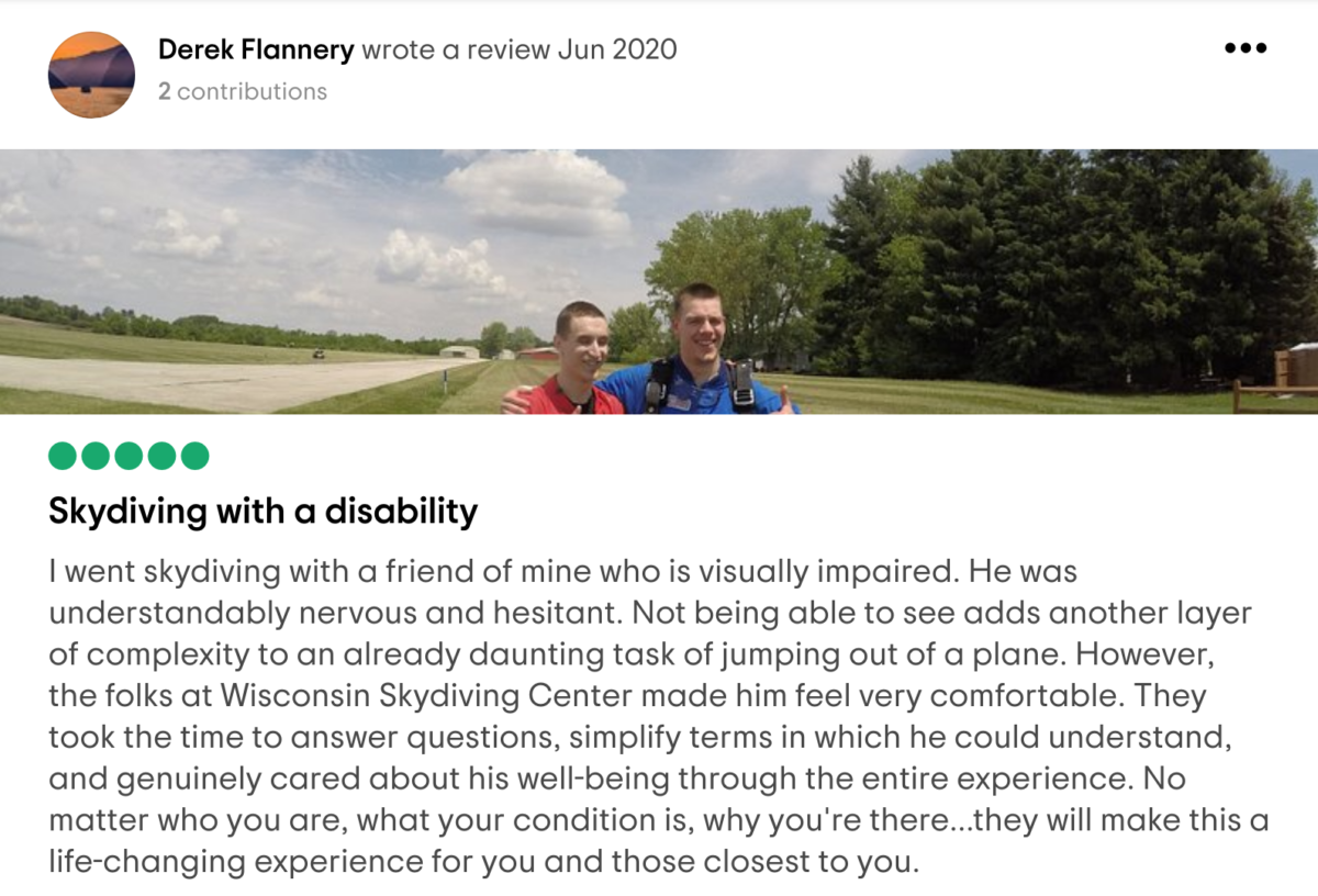 Five-star review for Wisconsin Skydiving Center from Derek F on Tripadvisor