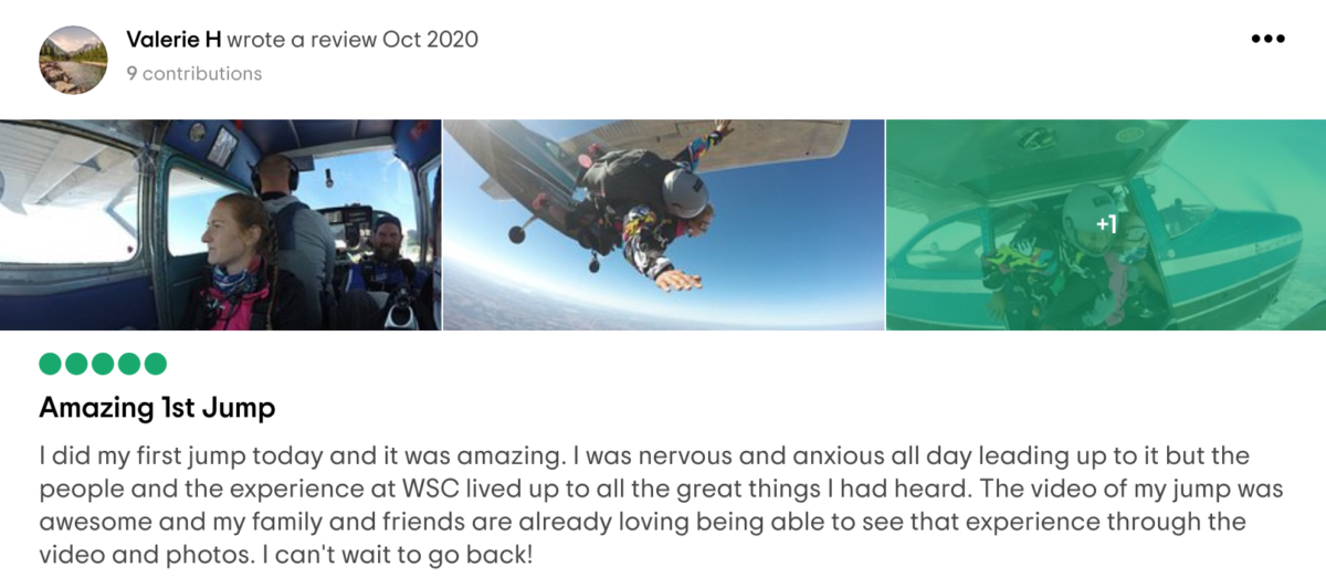 Five-star review for Wisconsin Skydiving Center from Valerie H on Tripadvisor
