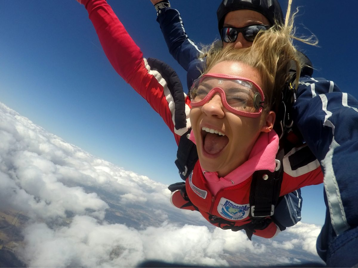 High school student skydiving as a graduation gift certificate to Wisconsin Skydiving Center near Milwaukee and Madison, WI