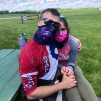 Couple hanging out at the dropzone at Wisconsin Skydiving Center near Chicago
