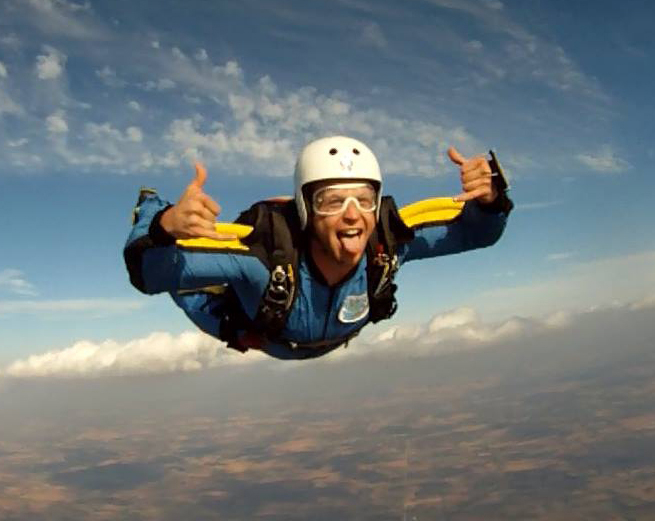 Skydiver flying solo at Wisconsin Skydiving Center near Chicago