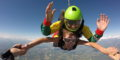 First-time tandem skydiver jump from a height of 10,000 feet