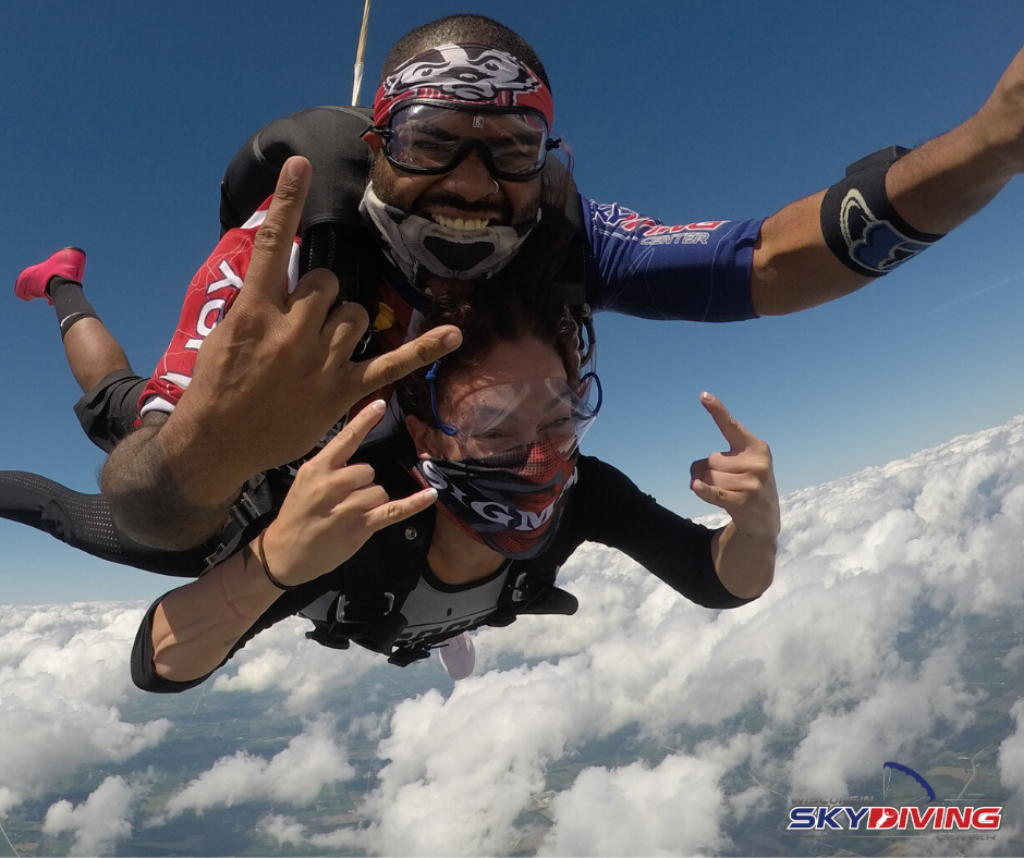 Woman skydiving in goggles over contact lenses at Wisconsin Skydiving Center near Chicago