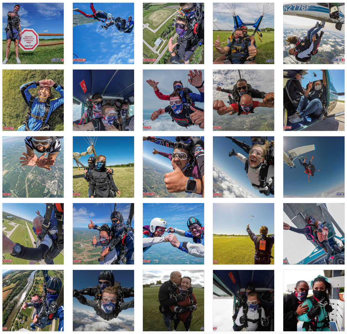 Skydiving photo montage at Wisconsin Skydiving Center near Chicago