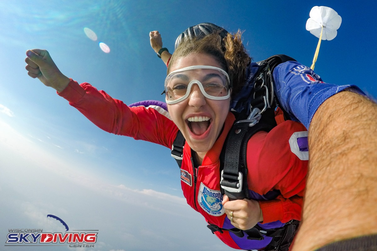 Young woman being superwoman during freefall at Wisconsin Skydiving Center near Chicago